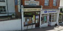 shop front view of Bude Health Store