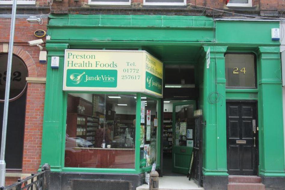 shop front view of Preston Health Foods