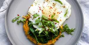 Presentation photo of Carrot & sweet potato breakfast rostis