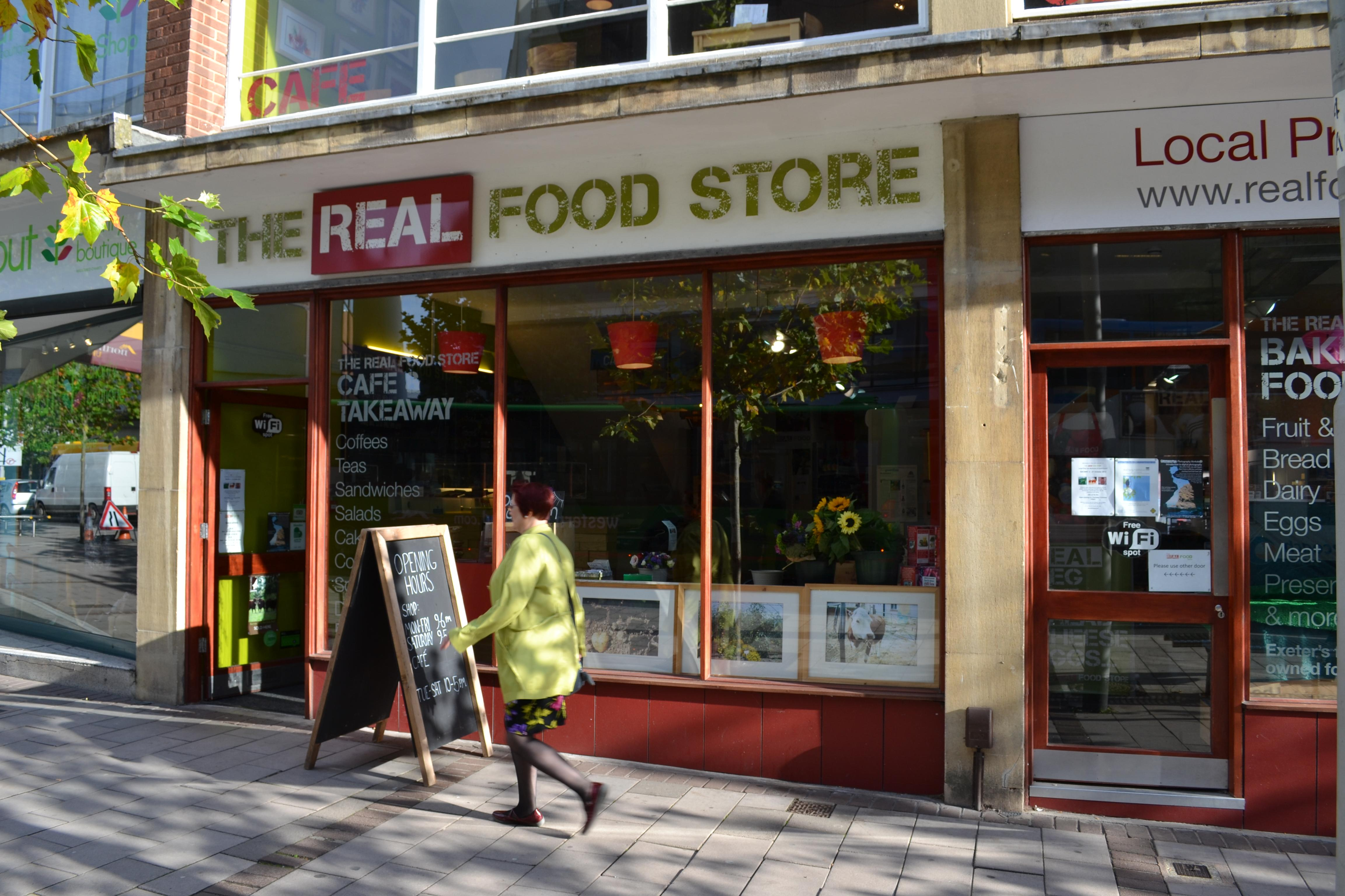 shop front view of Real Food Store