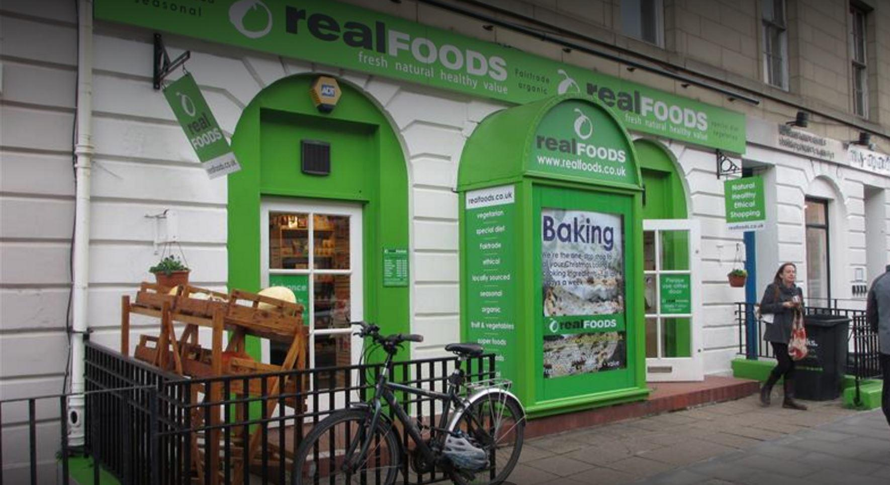 shop front view of Real Foods