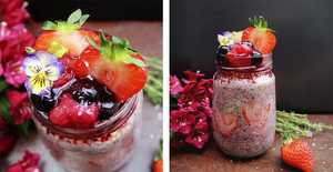 Presentation photo of Strawberry oat and chia with compote