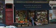 shop front view of Roots, Fruits and Flowers Finnieston